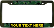 cusotmized camo license plate frames